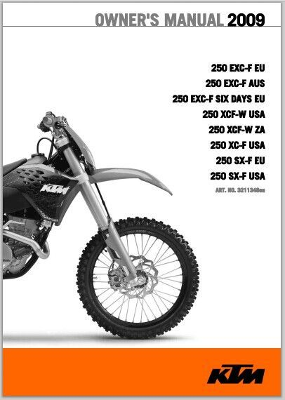 2009 Ktm 250 Exc F Owner Manual Pdf Download Ktm Ktm Exc Ktm 250 Exc