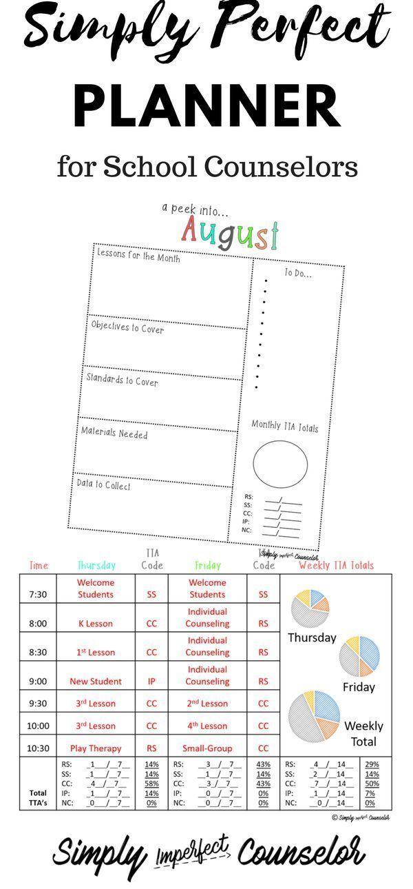 School Counseling Planner W Daily Time Task Analysis  School
