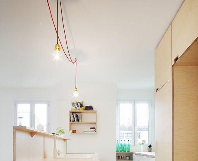 Luminaires Cuisine contrastant au-dessus du plan de travail  Fil + - fixer plan de travail cuisine