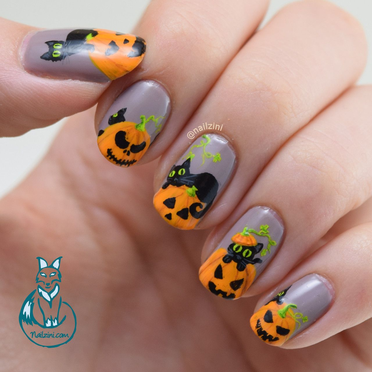 Black Cats and Pumpkins Nail Art | Pumpkin nails, Pumpkin ...