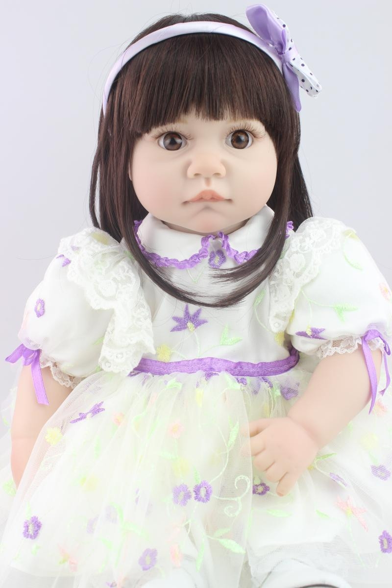 82.15$  Buy here - http://aliefy.worldwells.pw/go.php?t=32720558645 - 55 CM Girl Doll with Dress, 20 Inch Lifelike Baby Princess Doll Toy for Girl Children Birthday Gift