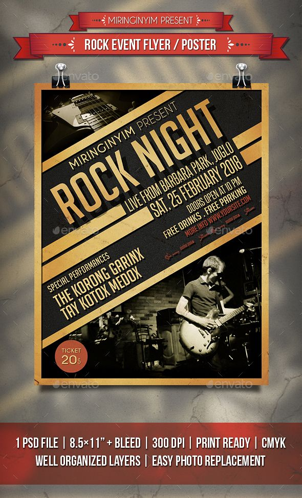 Rock Event Flyer \/ Poster Event flyers, Flyer template and Event - event flyer templates