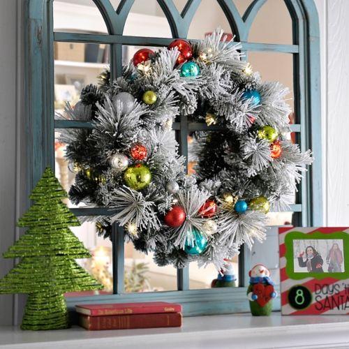 Pre-Lit Flocked Ornament Wreath | Kirklands