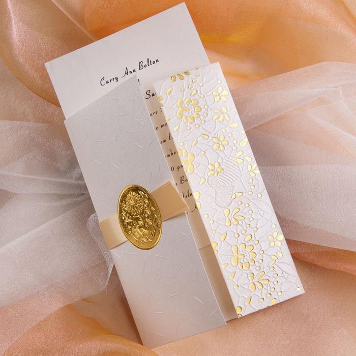 elegant gold embossed floral art deco tri fold wedding invitation ...
