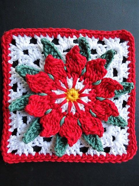 [Free Pattern] This Cactus Flower Granny Square Is Fabulous And So Chrismassy Too!