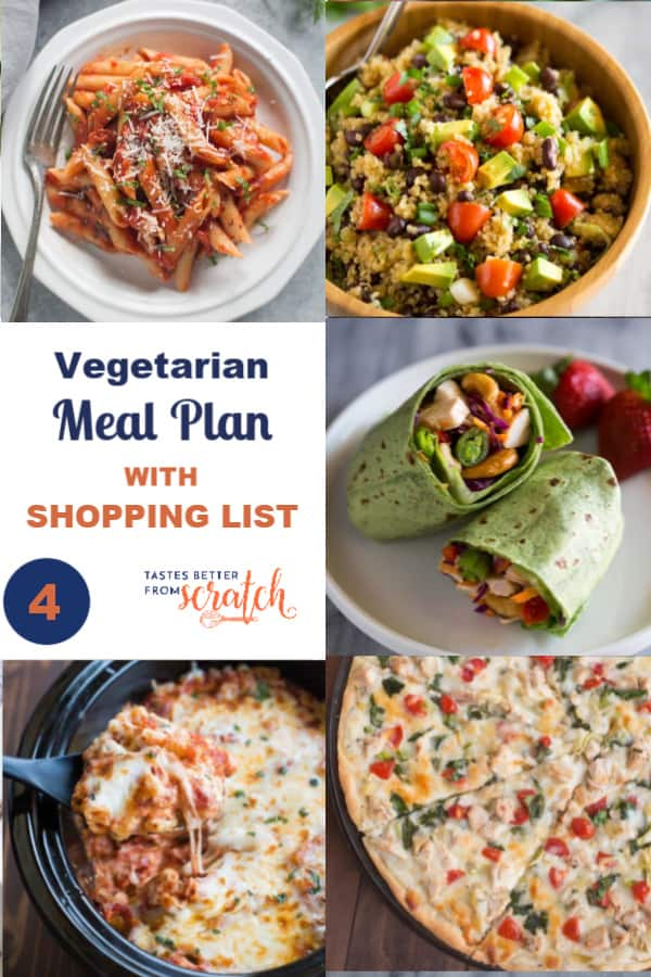 Week 4 Vegetarian Meal Plan And Shopping List Vegetarian Meal Plan Healthy Dinner Options Vegetarian Grocery Lists