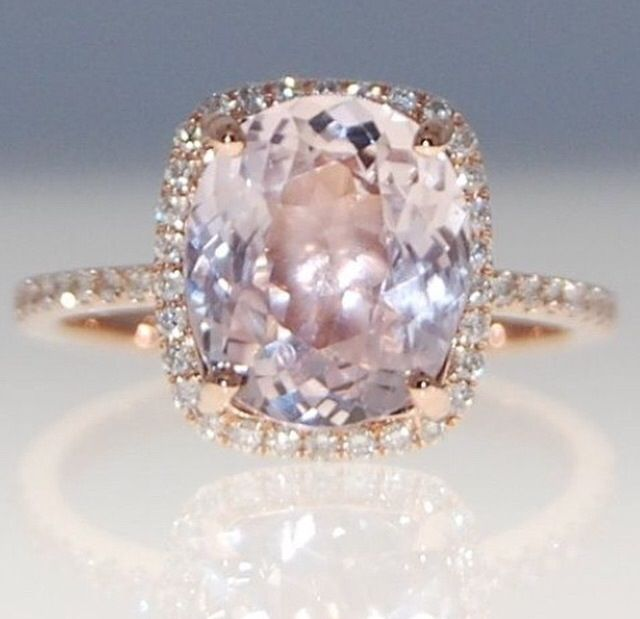 Mauve Peach Sapphire Wedding Ring