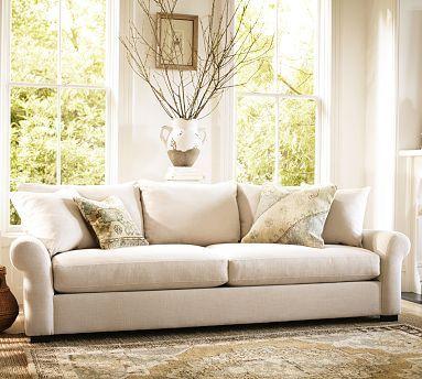 Rowan Upholstered Sofa #potterybarn love that it is 105.5 ...