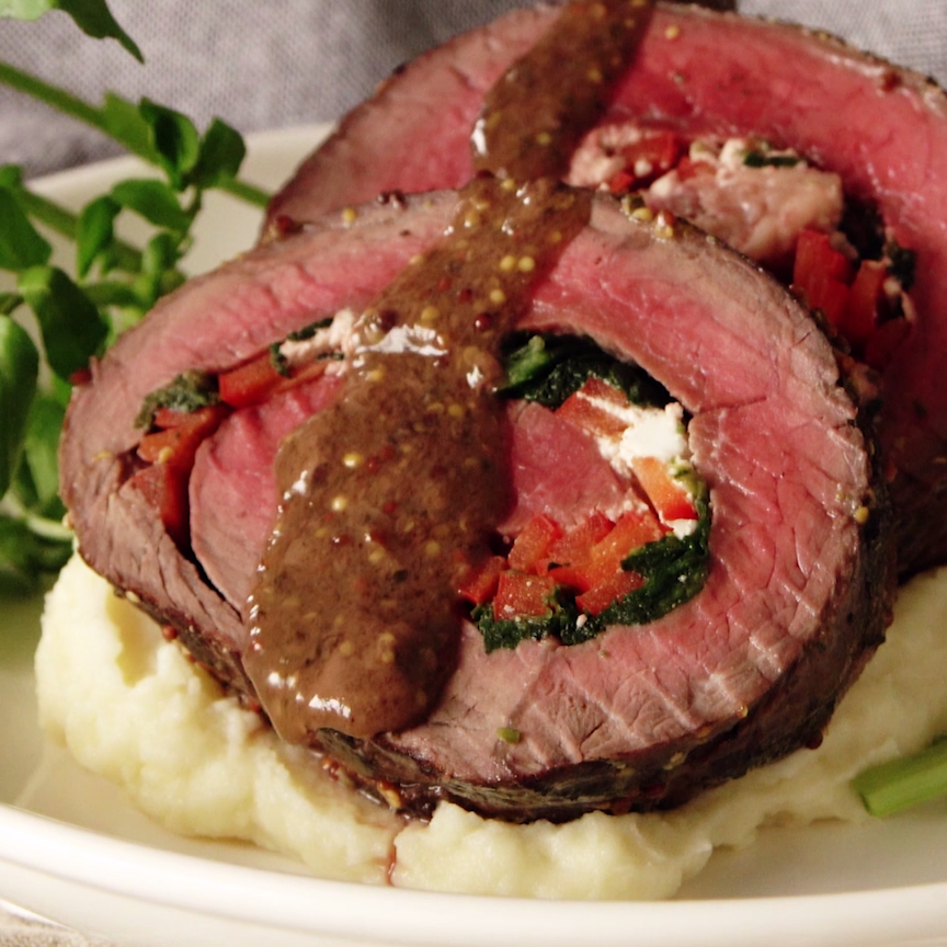 Rolled Roast Beef with Herb Butter #beefdishes
