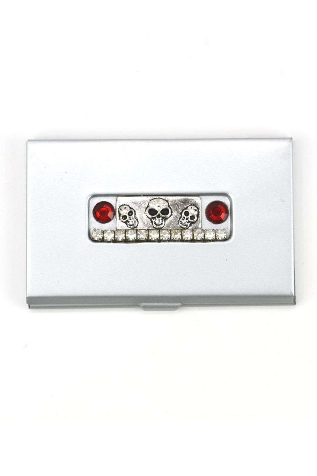 Business Card or Credit Card Holder. This isn't your average business card holder. It is accented with skulls, rhinestones & red crystals.   Business Card Holder by Karma and Coconuts. Home & Gifts - Gifts - Stationery & Office Naples, Florida