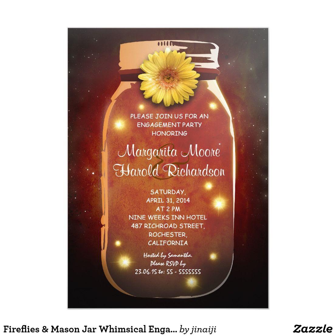 Fireflies & Mason Jar Whimsical Engagement Party Invitation ...