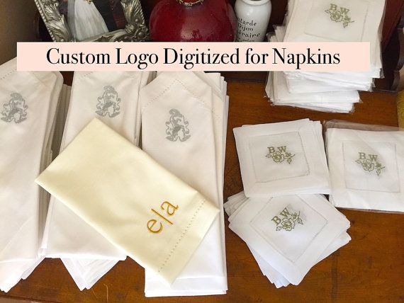 Custom Wedding Monogram Cloth Napkins Digitizing Logo Cu