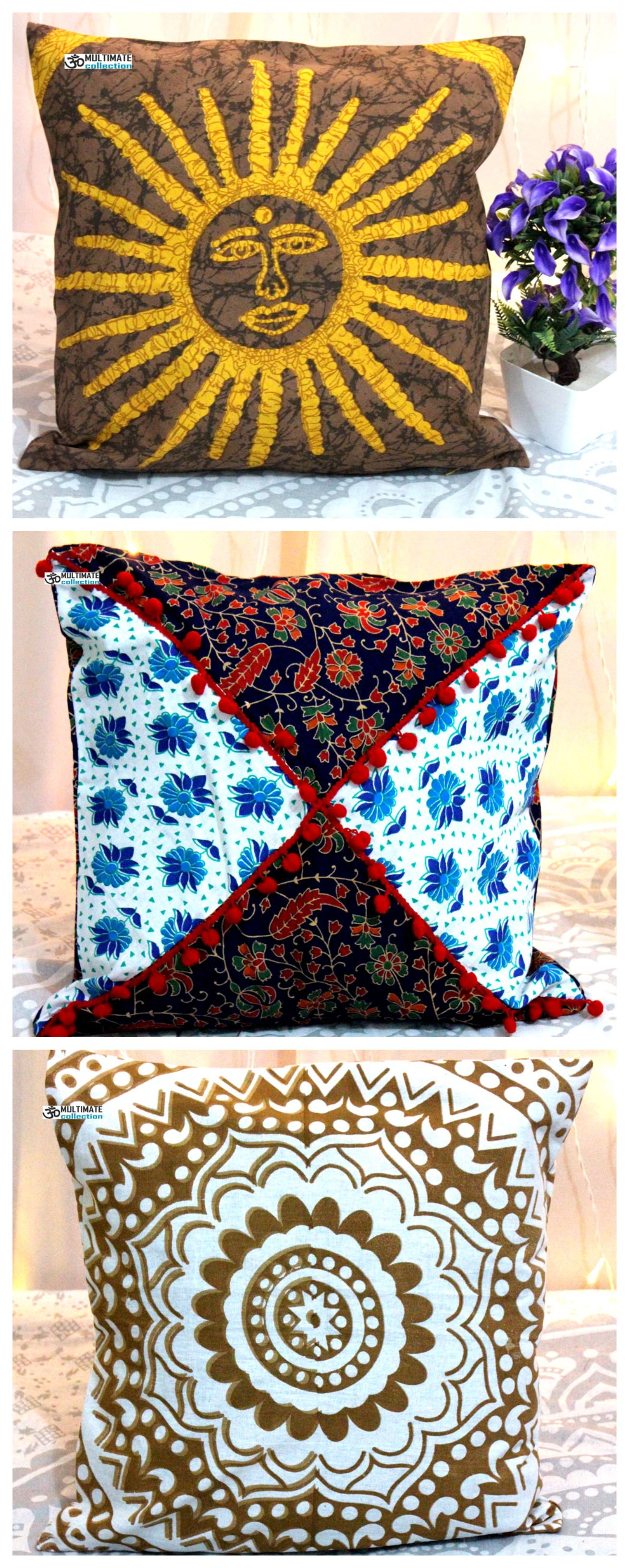 Indian Decorative Handmade Cushion Cover Hippie Decorative Bohemian