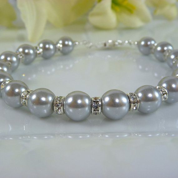 Gray Glass Pearl Bracelet with Rhinestone Accents by personaloasis for bridesmaids