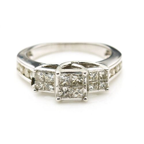 14K White Gold 1.0 CTTW Diamond Engagement Ring