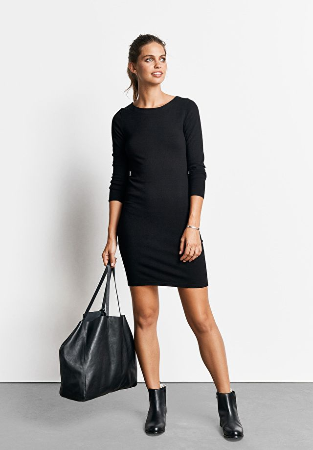 bffee638bcab0 The must-have little black dress of the season; this mini sweater style is  perfect for day-through-to-evening. Wear this LBD with ankle boots and a  leather ...