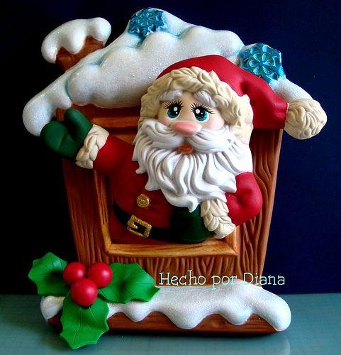 Santa en ventana by manualidades diana, via Flickr