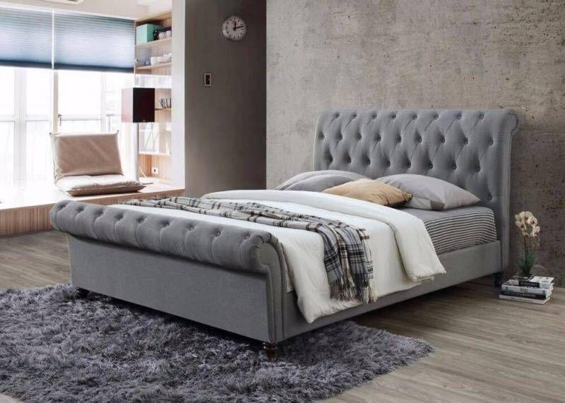 Brand New Grey Fabric Queen Bed Frame   Beds   Gumtree Australia ...