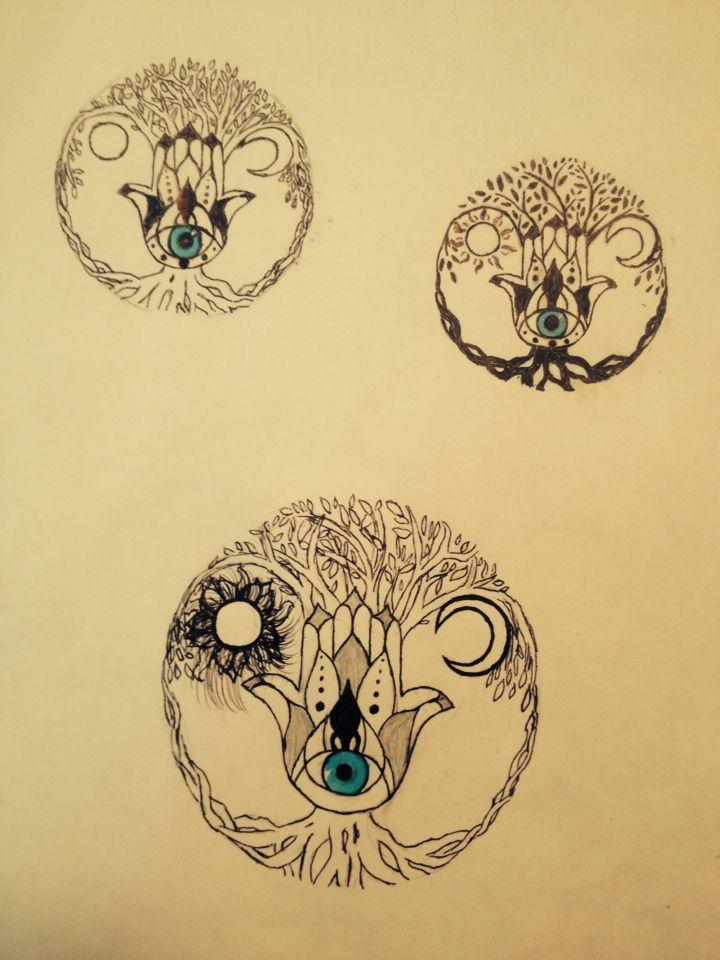 Additional draft to my tattoo idea of hamsa inside a tree of life.