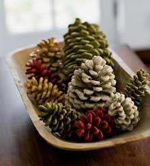 painted pinecones-great idea!