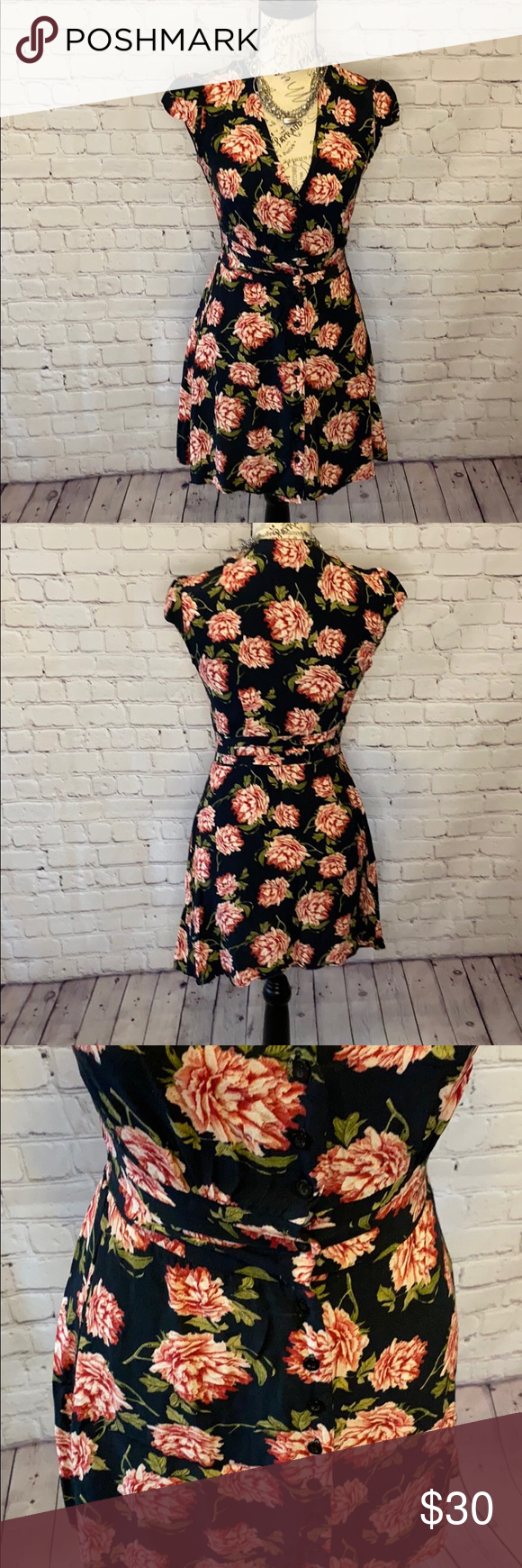 Topshop Button Down Floral Dress Pleated Waist Black With Pink Peach Flowers Like Roses Or Peonies Pleated Pleated Dress Long Sleeve Mini Dress Top Shop Dress [ 1740 x 580 Pixel ]