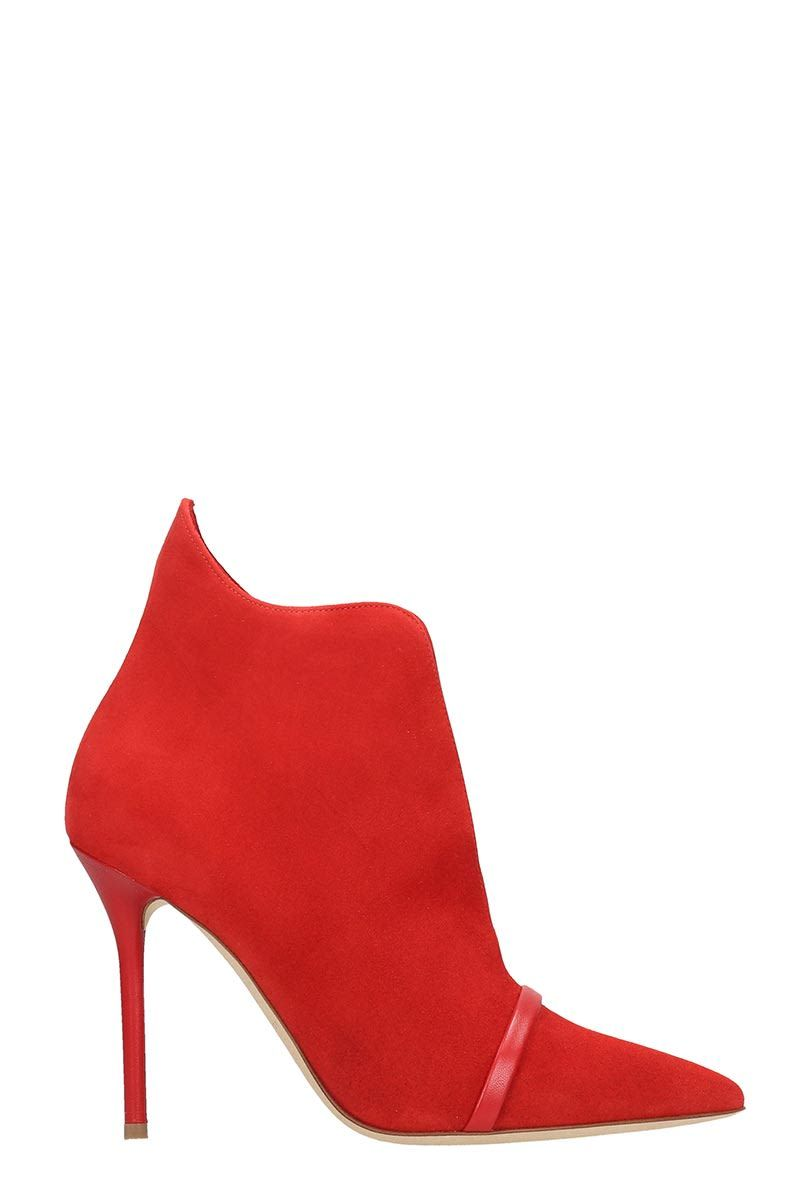 Malone Souliers Cora Ms 100 Ankle Boots In Red Suede Malonesouliers Shoes High Heel Boots Ankle Red Suede Ankle Boots