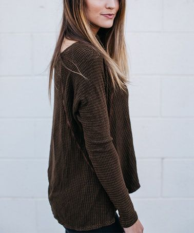 Look at this #zulilyfind! Olive Waffle V-Neck Long-Sleeve Top #zulilyfinds
