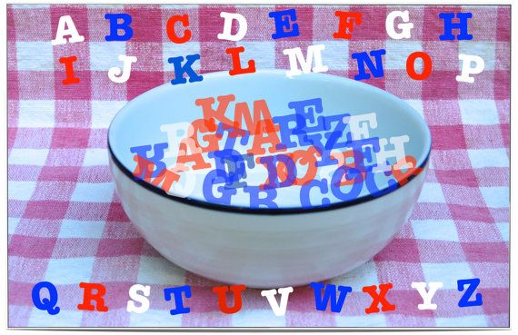"""Help your toddler master his/her ABC's AND basic """"sight words"""" by featuring them on the dining table!"""