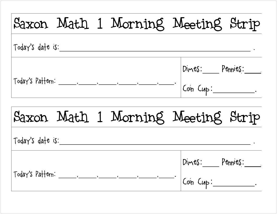 Worksheets Saxon Math 3 Worksheets free printable saxon 1 meeting strips to laminate and reuse reuse