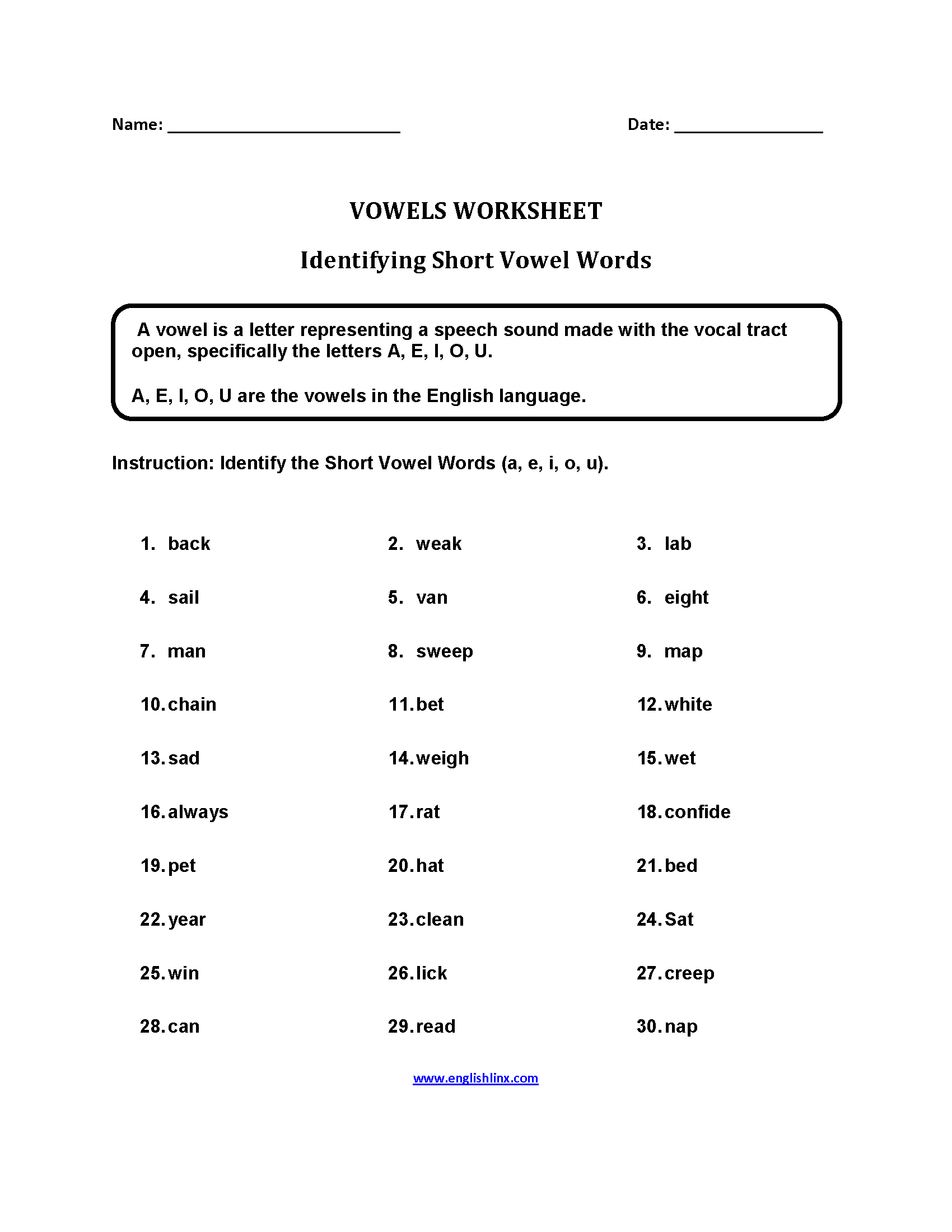 Short Vowel Words Worksheets