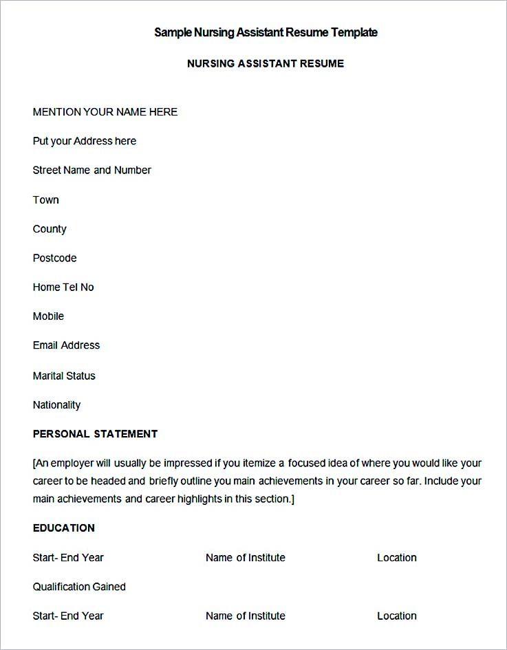 Sample Nursing Assistant Resume Template , Nurse Resume Template and