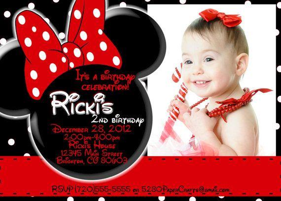 Disney Minnie Mouse Birthday Invite Diy Printing Custom Wording On