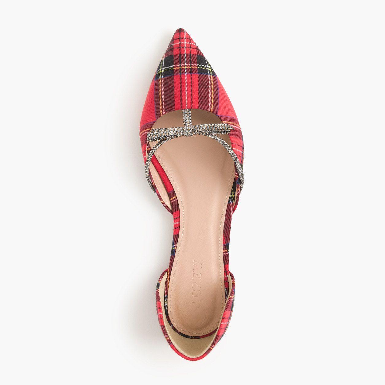 J.Crew   Suede bow, Plaid shoes, Womens