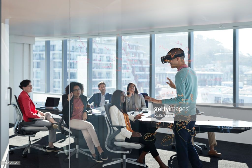 Modern Chic Business People Working In An Incredible Futuristic
