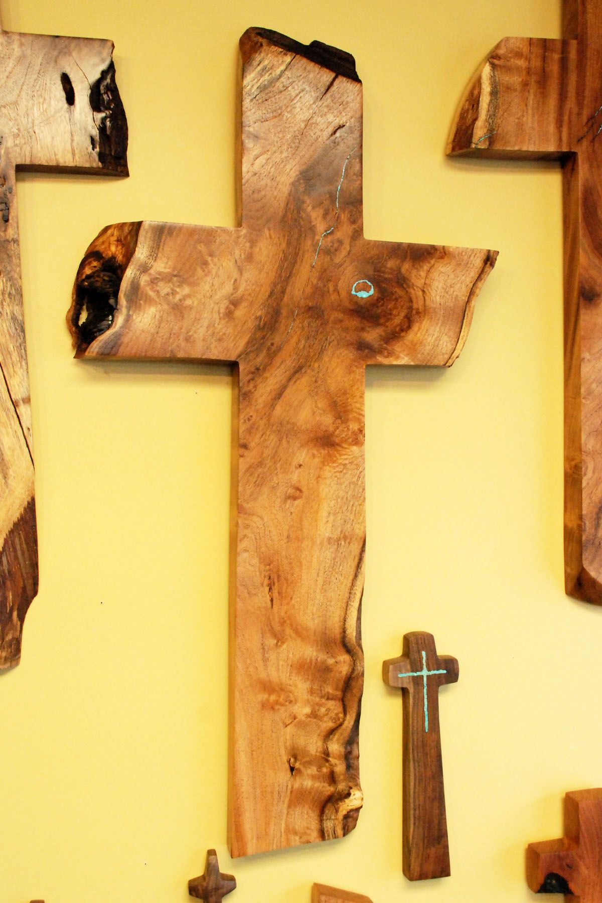 Mesquite Cross with Turquoise Inlay 33\
