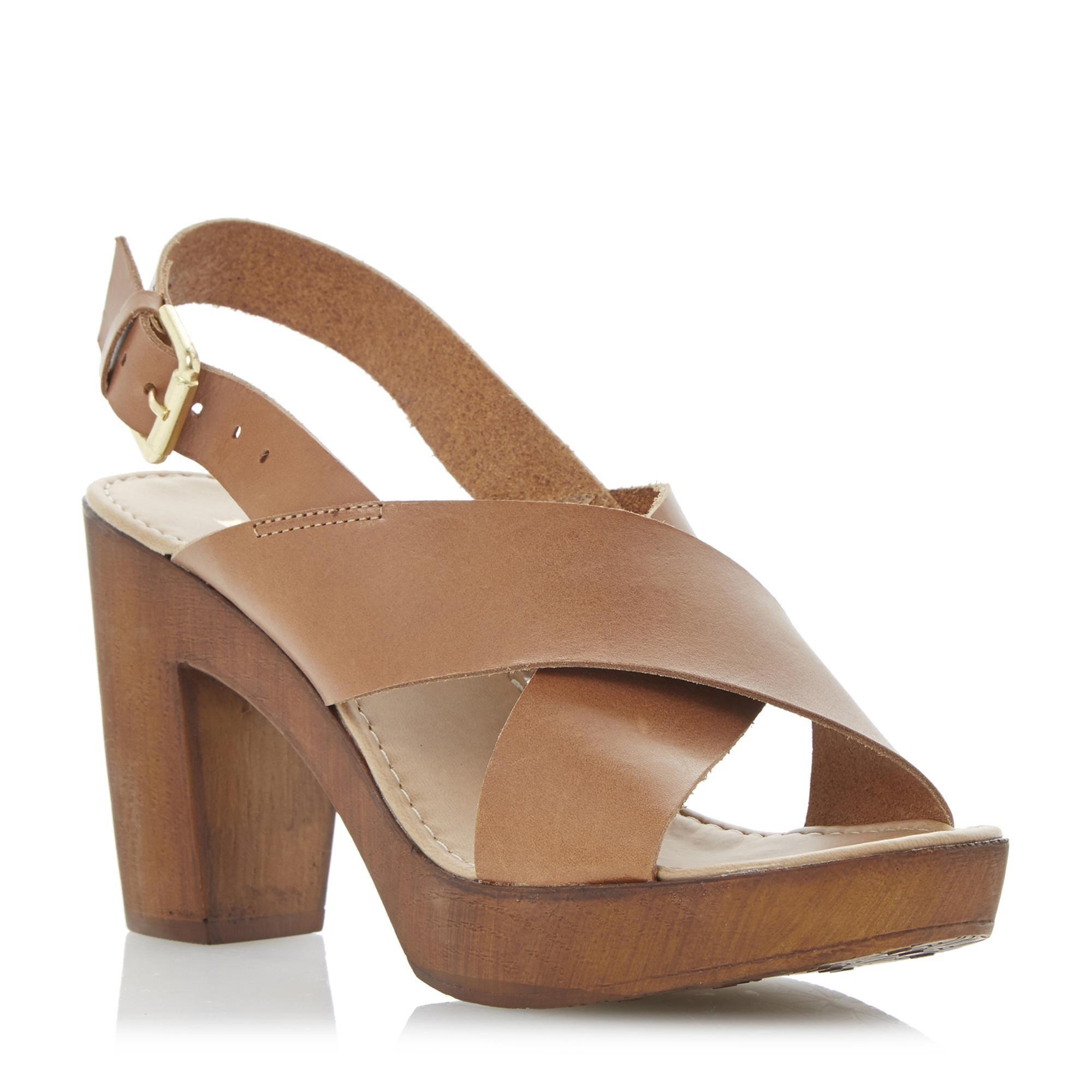 c9134914e89 DUNE LADIES FRAGGEL - Leather Wooden Clog Effect Heeled Sandal - tan ...