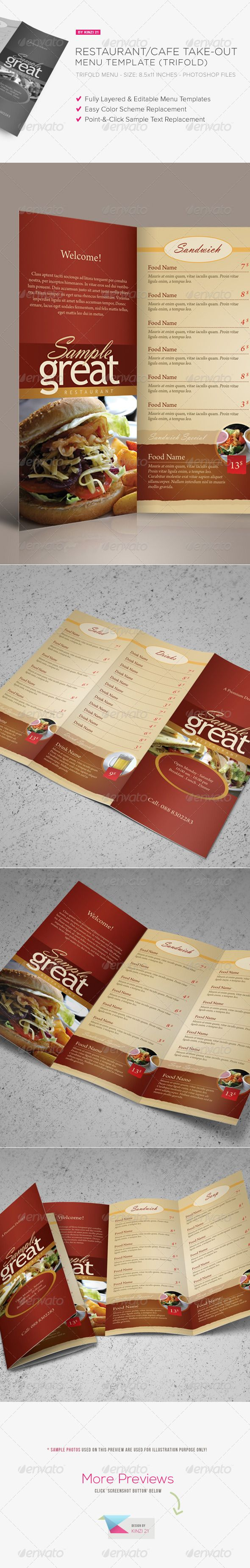 Restaurant Cafe Takeout Menu Template The template pack contains