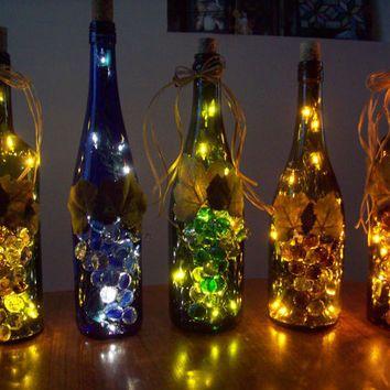 Upcycled Lampada Garrafa De Vinho Grande Noite De Luz Accent