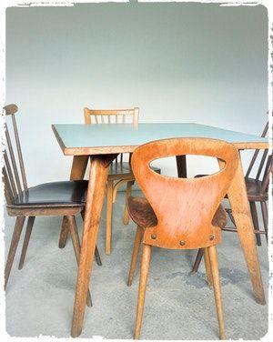Table Carree Vintage Pieds Compas Formica Mobilier De Salon Meuble Maison Mobilier