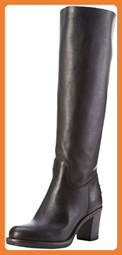 Shabbies Amsterdam Damen 42cm High Boot 6cm Heel Rubber Matching Sole  Langschaft Stiefel, Schwarz ( 8654db0199