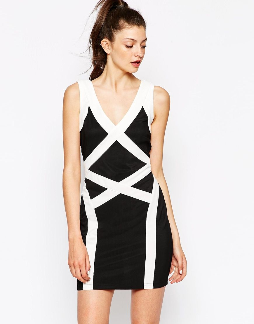 Daisy Street Bodycon Dress With Contrast Panels
