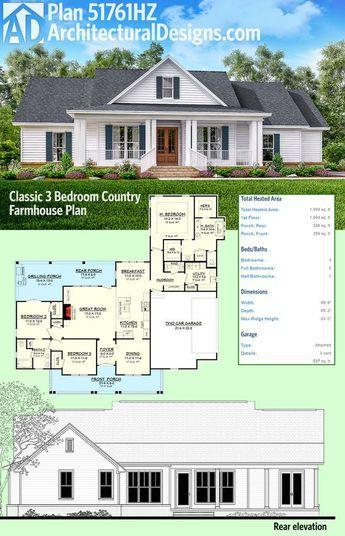 Plan 51761hz Classic 3 Bed Country Farmhouse Plan Architectural Design House Plans Farmhouse Plans House Plans Farmhouse