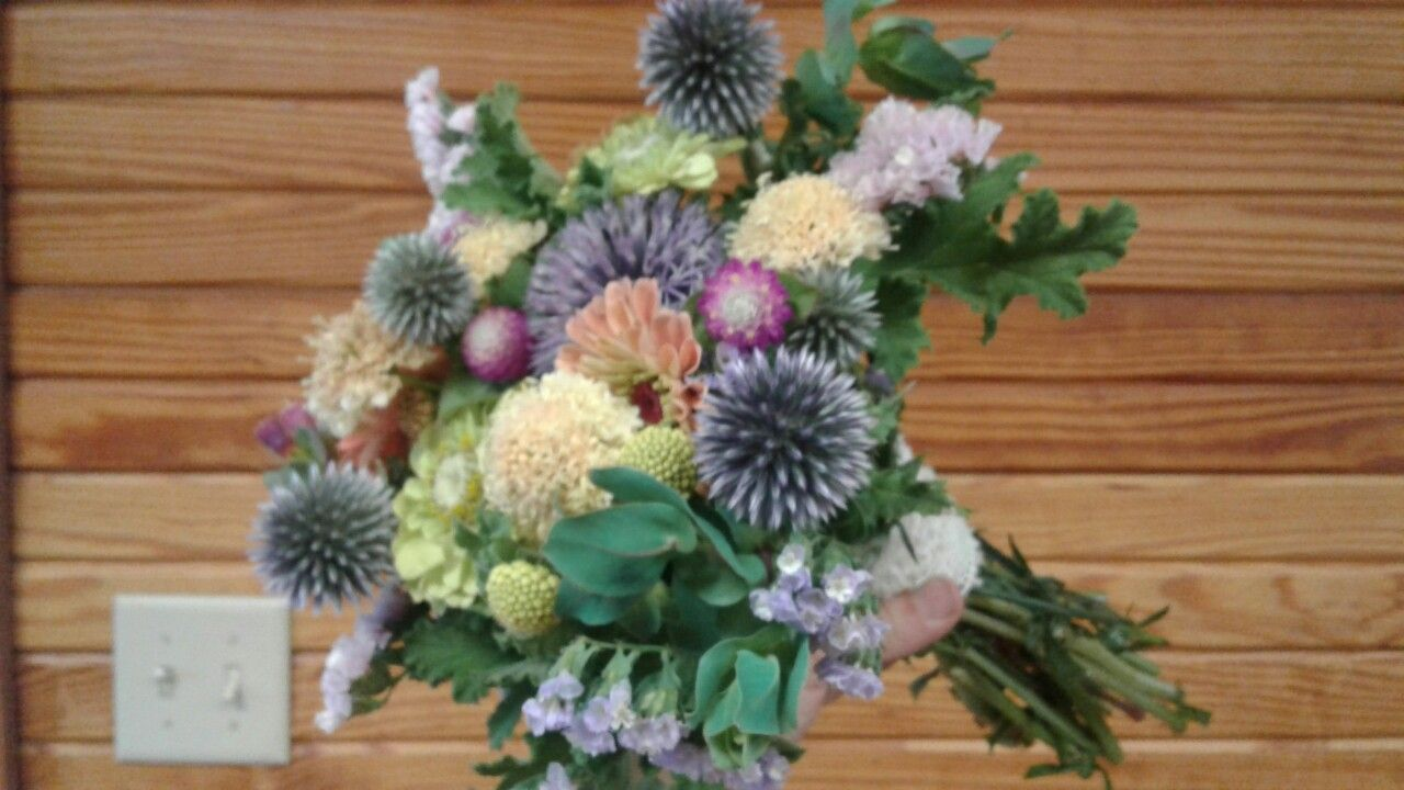 Summer Bridesmaid bouquet. Muted colors.