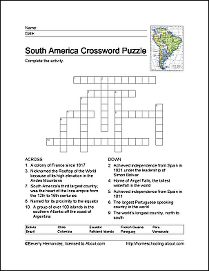 South America Word Search, Crossword Puzzle and More | Pinterest