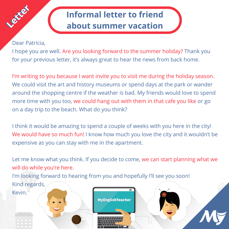 Informal letter to friend about summer vacation Learn