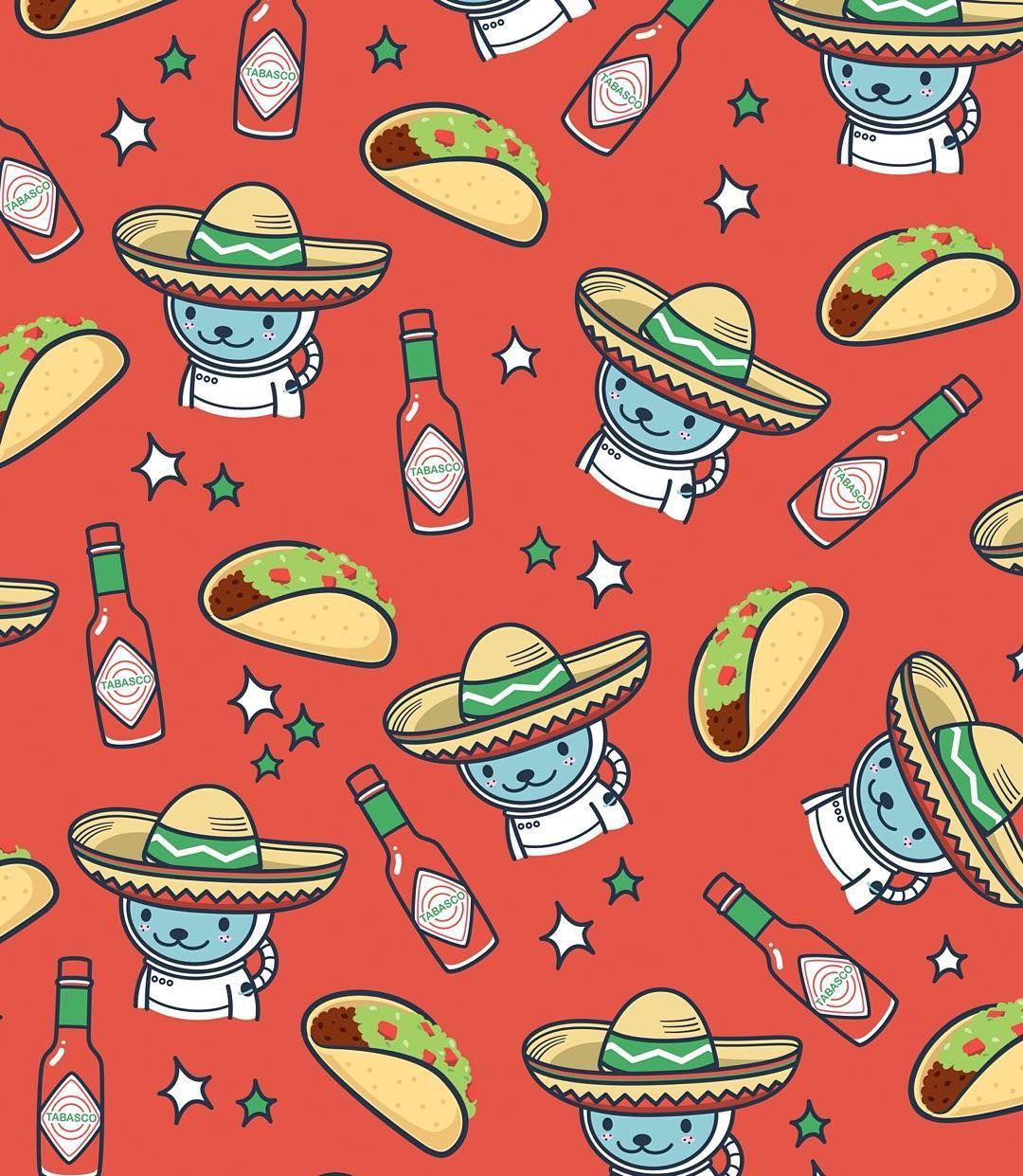 Jōkukuma On Instagram Mood For Tacos Tacos Burrito Mexico Cute Kawaii Spacebear Illustration Pattern Tacos Kawaii Food Patterns