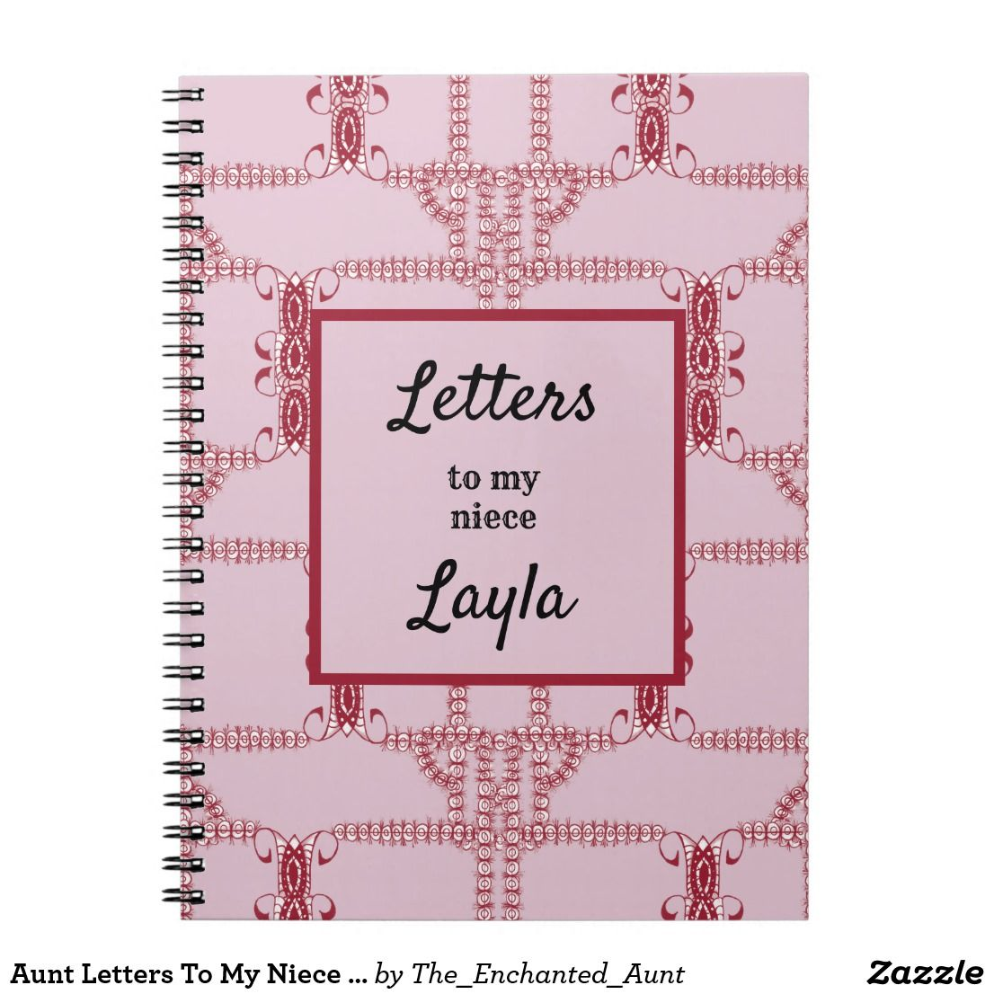 Aunt Letters To My Niece Pink Abstract Notebook Zazzle