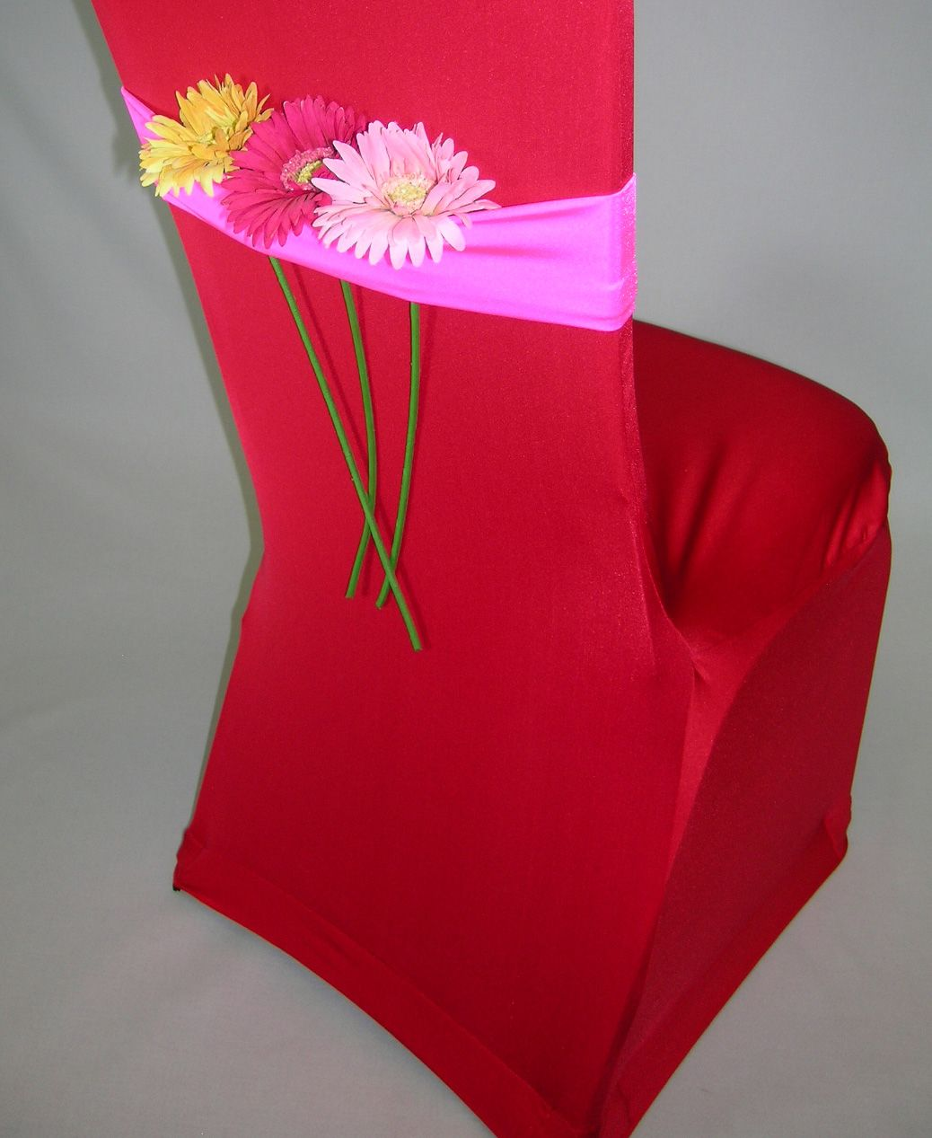 Hot Pink Spandex Chair Covers Costco Lift Red For Parties With Bands