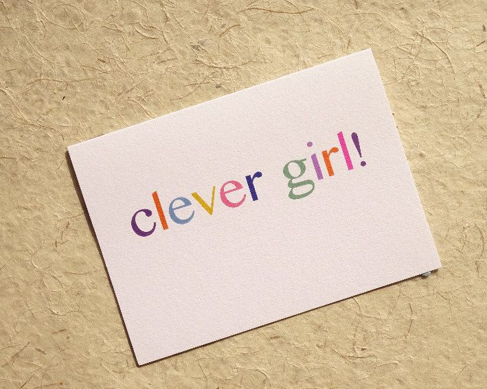 Cute clever girl greeting card, congratulations, well done, passed - Job Test