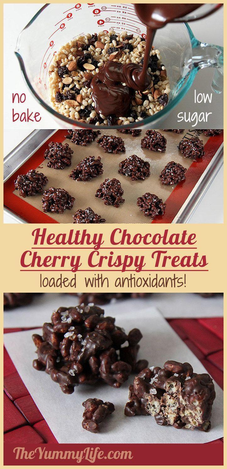 healthy chocolate cherry almond crispy treats | recipe | recipes